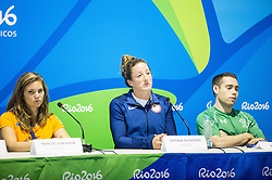 Athlete Marlou van Rhijn, Athlete Tatyana McFadden and Athlete Jason Smyth at press conference in the Paralympic Village 1 day ahead of the Rio 2016 Summer Paralympics Games on September 6, 2016 in Rio de Janeiro, Brazil. Photo by Vid Ponikvar / Sportida