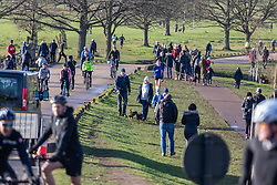 © Licensed to London News Pictures. 17/01/2021. London, UK. Members of the public enjoy a stroll in a very busy Richmond Park in South West London today as police keep up patrols in the parks. Earlier, the government pleaded with the public to stay at home as much as possible. And today, Foreign Minister Dominic Rabb said that lockdown could be lifted in March but with tier systems still in place as health chefs reveal that a 24/7 vaccination pilot will begin next week as total Covid-19 deaths reach over 88,000 this weekend. Photo credit: Alex Lentati/LNP