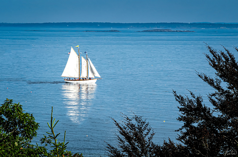 A view of a Sailboat from the Vesper Hill Chapel, in Rockport, Maine on a partly cloudy day, white sails in a landscape of blue.