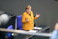 24 MAR 2021, BERLIN/GERMANY:<br /> Angela Merkel, CDU, Bundeskanzlerin, waehrend der Regierungsbefragung durch den Bundestag zur Bekaempfung der Corvid-19 Pandemie, Plenarsaal, Reichstagsgebaeude, Deutscher Bundestag<br /> IMAGE: 20210324-01-049<br /> KEYWORDS: Corona
