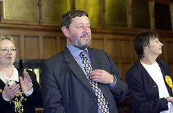 The now Home secretary David Blunket MP hears he has been re-elected at the announcment result of his election contest on general election night 2001 in the sheffield Town Hall.
