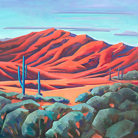Pick your way carefully through the sagebrush and cacti for a closer view of the glowing desrt mountains!<br /> 24 x 36, oil on canvas.<br /> For more information, please call 480-483-5663