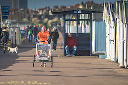 A father jogs along the Thorpe Bay seafront whilst pushing his child in a specialised carriage.  Southend on Sea, Essex, UK.