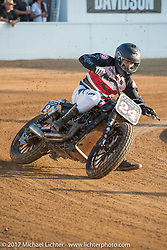 Flat track racing at the Born Free pre-party and Harley-Davidson Stampede at Costa Mesa Speedway. Costa Mesa, CA. USA. Thursday June 22, 2017. Photography ©2017 Michael Lichter.