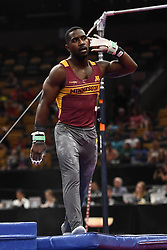 August 18, 2018 - Boston, Massachussetts, U.S - JALON STEPHENS plays to the crowd after his routine on the high bar during the final round of competition held at TD Garden in Boston, Massachusetts. (Credit Image: © Amy Sanderson via ZUMA Wire)