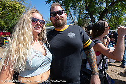 Stina and Joe Mialki of Giuseppe's Steel City Pizza at the Chopper Time annual old school chopper show at Willie's Tropical Tattoo in Ormond Beach during Daytona Beach Bike Week, FL. USA. Thursday, March 14, 2019. Photography ©2019 Michael Lichter.