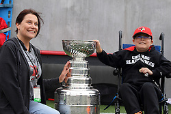 03 October 2015:   Mother with young boy and Stanley Cup. NCAA FCS Football between Northern Iowa Panthers and Illinois State Redbirds at Hancock Stadium in Normal IL (Photo by Alan Look)