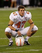 Tennessee punter Britton Colquitt takes a breather before the game between the Georgia Bulldogs and the Tennessee Volunteers at Sanford Stadium in Athens, GA on October 7, 2006.<br />