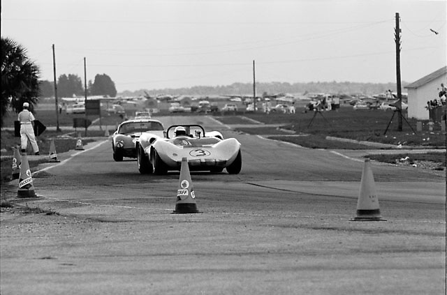 Winning Chaparral 2 and Cobra Daytona Coupe during 1965 Sebring 12-hours race.PLEASE CREDIT photo by Ozzie Lyons / www.petelyons.com