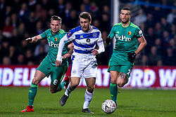 Luke Freeman of Queens Park Rangers goes past Daryl Janmaat and Tom Cleverley of Watford - Mandatory by-line: Robbie Stephenson/JMP - 15/02/2019 - FOOTBALL - Loftus Road - London, England - Queens Park Rangers v Watford - Emirates FA Cup fifth round proper