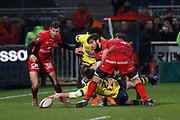 Remi Lamerat of Clermont and Jean Marcellin Buttin of Lyon and Alexis Palisson of Lyon and Etienne Oosthuizen of Lyon during the French championship Top 14 Rugby Union match between Lyon OU and Clermont on February 17, 2018 at Groupama stadium in Lyon, France - Photo Romain Biard / Isports / ProSportsImages / DPPI