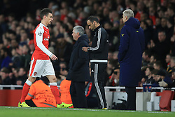 7 March 2017 - UEFA Champions League - (Round of 16) - Arsenal v Bayern Munich - Laurent Koscielny of Arsenal leaves the pitch watched by Arsene Wenger - Photo: Marc Atkins / Offside.