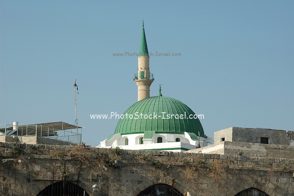 al-Jazzar mosque and turret in old Akko<br /> Akko also Acre, is a city in northern Israel with a history spanning centuries. It also played a major role in the holy land crusades
