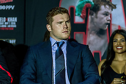 LOS ANGELES, CA - MARCH 2: WBC, Ring Magazine and Lineal Middleweight World Champion Canelo Alvarez (46-1-1, 32 KOs) attends Canelo vs Khan press conference at Universal CityWalk - Five Towers Stage on March 2, 2016 in Los Angeles. Canelo vs. Khan, a 12-round fight for Canelo's WBC, Ring Magazine and Lineal Middleweight World Championships, is promoted by Golden Boy Promotions in association with Canelo Promotions and sponsored by Cerveza Tecate, BORN BOLD, O'Reilly Auto Parts and Casa Mexico Tequila. The mega-event will take place on Saturday, May 7 at T-Mobile Arena in Las Vegas and will be produced and distributed live by HBO Pay-Per-View beginning at 9:00 p.m. ET/6:00 p.m. PT. Byline, credit, TV usage, web usage or linkback must read SILVEXPHOTO.COM. Failure to byline correctly will incur double the agreed fee. Tel: +1 714 504 6870.