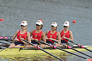 Sydney, Australia.   Interstate Women's Quadruple  Sculls, South Australia's, Alex CARTER,  Adil NADERA, Alyssa NG, Suzannah MICHELL,  move away from the start pontoon at the Kings Queen's  Cup Interstae Regatta, icombined with the FISA World Cup I. and  Sydney International Rowing Regatta. Sydney International Rowing Centre, Penrith Lakes, NSW.   Saturday   23/03/2013 [Mandatory Credit. Peter Spurrier/Intersport Images]..