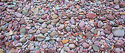 Rain on pebbles makes a splash of colour as rain starts to fall on Bossington Beach, Somerset, UK