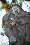 Statue of the Cowardly Lion from the Wizard of Oz in Oz Park in Chicago, IL, USA.