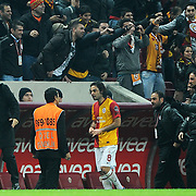Galatasaray's Selcuk Inan (C) during their Turkish Super League soccer match Galatasaray between Manisaspor at the TT Arena at Seyrantepe in Istanbul Turkey on Wednesday, 21 December 2011. Photo by TURKPIX