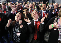 Scottish Labour supporters celebrate at the Emirates Arena in Glasgow, as counting is under way for the General Election.