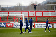 Ipswich players inspecting the pitch at the Wham Stadium during the The FA Cup 3rd round match between Accrington Stanley and Ipswich Town at the Fraser Eagle Stadium, Accrington, England on 5 January 2019.