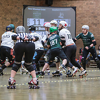 New Wheeled Order take on Southern Discomfort  in the Men's Tier 1 Roller Derby British Championships at the George H Carnall Sports Centre, Urmston, Greater Manchester, UK, 2016-06-20