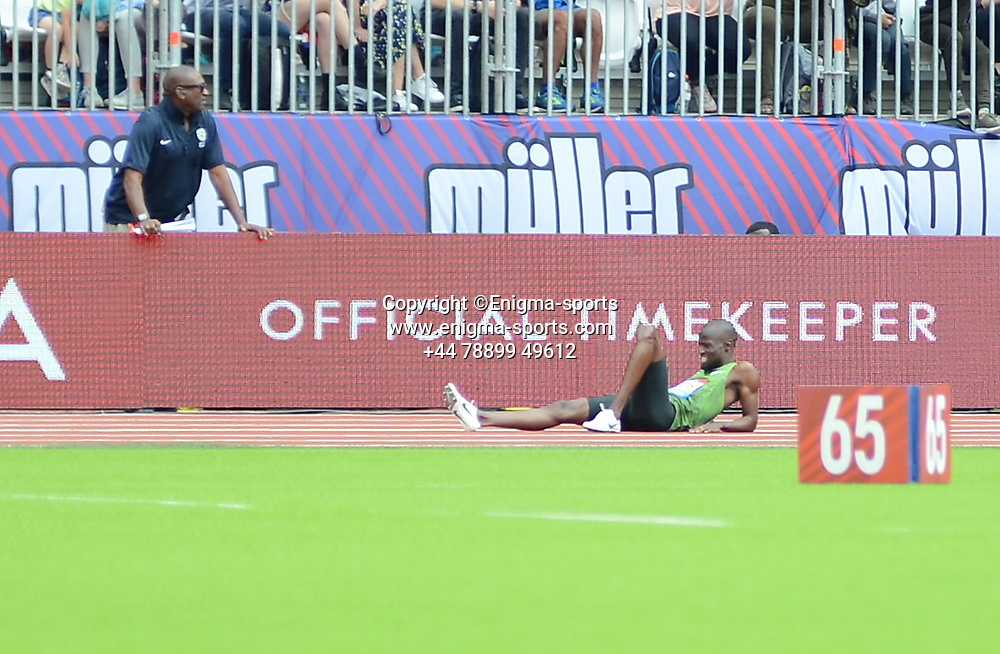 Nijel Amos is injured in the men's 800m during the IAAF Diamond League at the Queen Elizabeth Olympic Park London, England on 20 July 2019.