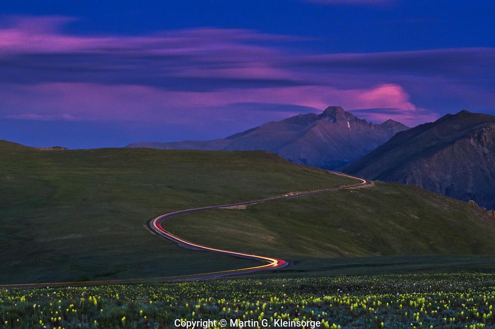 Trail Ridge Road runs across the alpine tundra at Rocky Mountain National Park, Colorado.