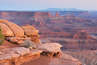 View from overlook at Dead Horse Point State Park Utah at dusk