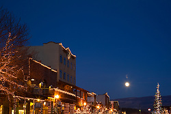 """""""Moon Over Truckee 3"""" - Photograph of a moon rising over Truckee at night."""