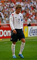 Photo: Glyn Thomas.<br />England v Paraguay. Group B, FIFA World Cup 2006. 10/06/2006.<br /> England's David Beckham feels the heat.