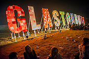 Nightlife on the hill above the Park Stage. The 2014 Glastonbury Festival, Worthy Farm, Glastonbury. 27 June 2013.  Guy Bell, 07771 786236, guy@gbphotos.com