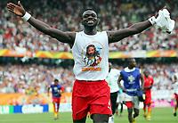 Schlussjubel Emmanuel Pappoe Ghana<br /> Fussball WM 2006 Ghana - USA 2:1<br /> Norway only