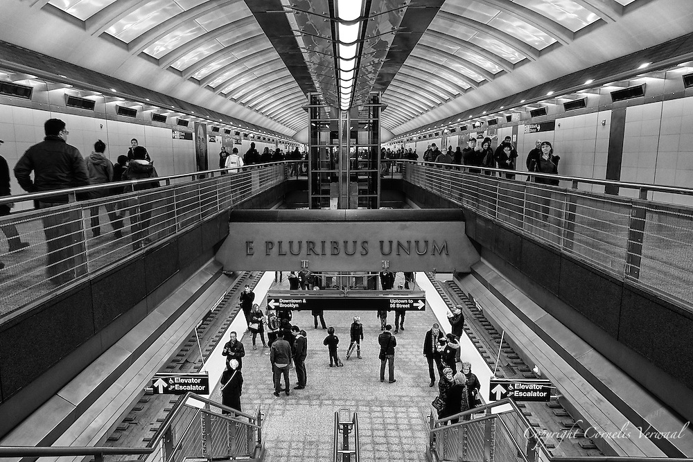 """""""E Pluribus Unum"""" or One Out Of Many, the traditional motto of the United States.  Let's not forget that out of many peoples, races, religions, languages, and ancestries has emerged a single people and nation, and let's hope that this nation will not forgo this principle in the coming year.  This image is of the brand new 86th street station of the brand new Second Ave Subway which opened today Jan. 1, 2017."""