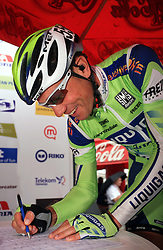 Vladimir Miholjevic of Croatia (Liquigas) signing the list before the start in 3rd stage of the 15th Tour de Slovenie from Skofja Loka to Krvavec (129,5 km), on June 13,2008, Slovenia. (Photo by Vid Ponikvar / Sportal Images)/ Sportida)