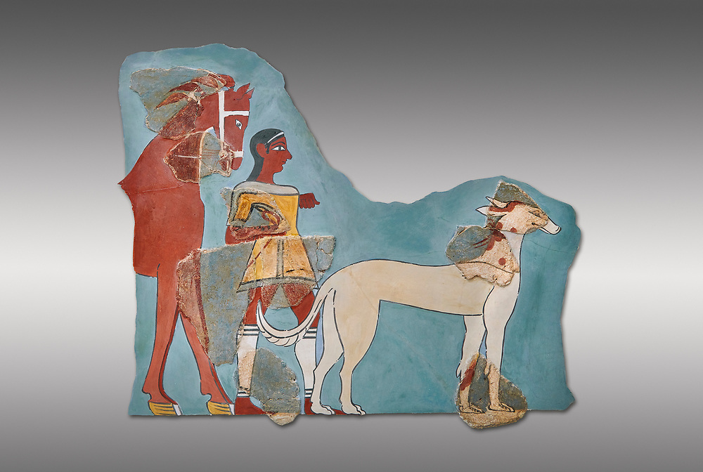 Mycenaean Fresco wall painting of a Mycanaean footman leading a horse & hunting dog,  Tiryns, Greece. 14th - 13th Century BC. Athens Archaeological Museum. Cat No 5878.  Grey Background .<br /> <br /> If you prefer to buy from our ALAMY PHOTO LIBRARY  Collection visit : https://www.alamy.com/portfolio/paul-williams-funkystock/mycenaean-art-artefacts.html . Type -   Athens    - into the LOWER SEARCH WITHIN GALLERY box. Refine search by adding background colour, place, museum etc<br /> <br /> Visit our MYCENAEN ART PHOTO COLLECTIONS for more photos to download  as wall art prints https://funkystock.photoshelter.com/gallery-collection/Pictures-Images-of-Ancient-Mycenaean-Art-Artefacts-Archaeology-Sites/C0000xRC5WLQcbhQ