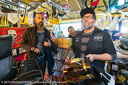 BMW Motorrad Creative Director Ola Stenegard couldn't resist buying a Bosozoku windshield on a visit to Z-Father Bōsōzoku motorcycle shop after Mooneyes. Tokyo, Japan. December 8, 2015.  Photography ©2015 Michael Lichter.