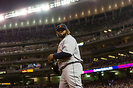 Prince Fielder (28) of the Detroit Tigers smiles at his dugout during a game against the Minnesota Twins on August 14, 2012 at Target Field in Minneapolis, Minnesota.  The Tigers defeated the Twins 8 to 4.  Photo: Ben Krause