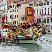 VENICE, ITALY - SEPTEMBER 04:  Rowers wearing costumes reproducing outfits dating back to 1489 take part in the Historic Regata on September 4, 2011 in Venice, Italy. The Historic Regata is the most popular boat race on the Gran Canal for locals and tourists alike.