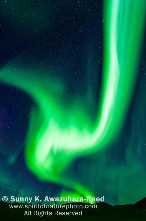 Intense fire like aurora flaming over Mt. Fairplay, Taylor Highway, Interior Alaska, Autumn.