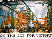 World War I 1914-1918:  American poster issued by United States Shipping Board, Emergency Fleet Corporation, 1918. 'On the Job for Victory' showing a panoramic view of a busy shipyard.