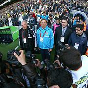 Fenerbahce's coach Christoph DAUM (C) and Besiktas's coach Mustafa DENIZLI (L) during their Turkish superleague soccer derby match Fenerbahce between Besiktas at Sukru Saracaoglu stadium in Istanbul Turkey on Sunday 18 April 2010. Photo by TURKPIX