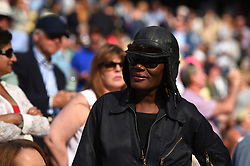 Actor and singer Grace Jones (USA) during the men semi final matches at the 2017 Wimbledon Championships at the AELTC in London, UK, on July 14, 2017. Photo by Corinne Dubreuil/ABACAPRESS.COM