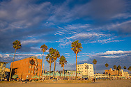 Venice Beach at sunset in Los Angeles, California.