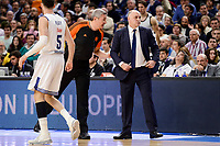Real Madrid's coach Pablo Laso talking with referee Luigi Lamonica duringTurkish Airlines Euroleague match between Real Madrid and FC Barcelona Lassa at Wizink Center in Madrid, Spain. March 22, 2017. (ALTERPHOTOS/BorjaB.Hojas)
