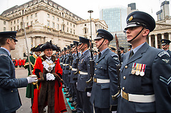 The new Lord Mayor of London Charles Bowman inspects troops outside Mansion House during the Lord Mayor's Show 2017, in the City of London.
