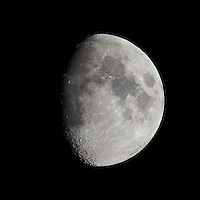 Waxing Gibbous Moon (75%). Autumn Night in New Jersey. Image taken with a Nikon D3s and 600 mm f/4 VR lens + TC-E III 20 teleconverter.  (ISO 200, 1200 mm, f/11, 1/100 sec).