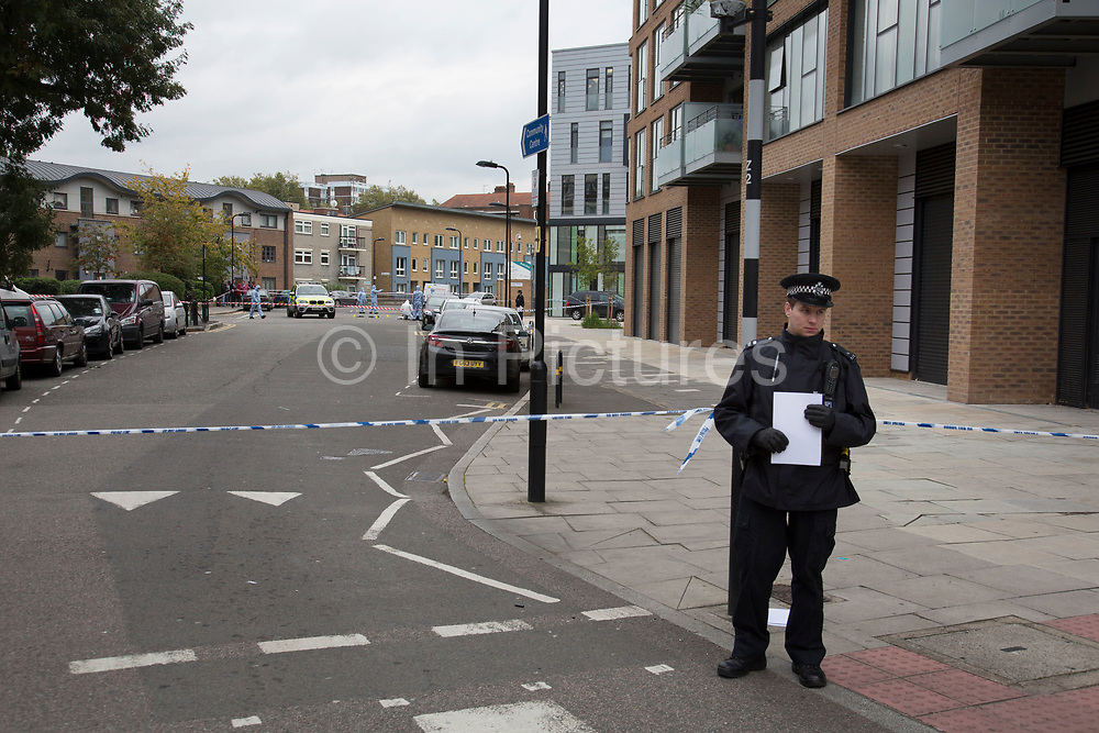 Crime scene where a male police officer was shot during a firearms operation in Scriven Street in the Haggerston area of Hackney. A specialist firearms unit and officers from Trident Area Crime Command, which is responsible for tackling gang crime, were conducting an operation in Scriven Street at the time of the shooting.