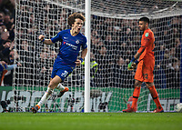 Football - 2018 / 2019 EFL Carabao Cup (League Cup) - Semi-Final, Second Leg: Chelsea (0) vs. Tottenham Hotspur (1)<br /> <br /> David Luiz (Chelsea FC) wheels away having clinched the victory for his team with his penalty kick at Stamford Bridge <br /> <br /> COLORSPORT/DANIEL BEARHAM