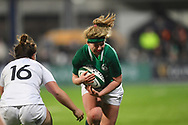 Ireland player Emma Hooban tries to run through an English tackle in the second half during the Women's 6 Nations match between Ireland Women and England Women at Energia Park, Dublin, Ireland on 1 February 2019.
