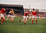 Cork goalie talks to a player in their goalmouth as the goal makes to hit the ball into play during the All Ireland Senior Hurling Final, Cork v Wexford in Croke Park on the 4th September 1977. Cork 1-17 Wexford 3-8.